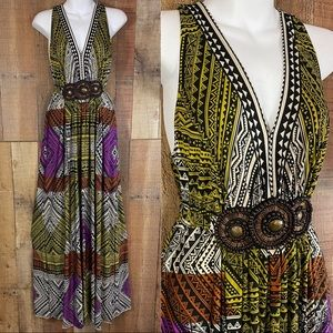 ECI NY 14  BoHo colorful halter maxi beaded waist